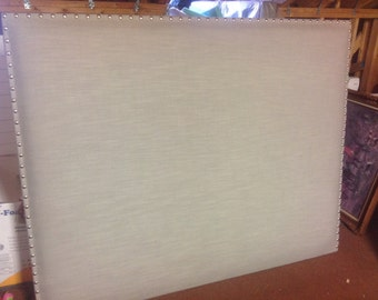 For sale is a new Custom Designer Linen Headboard with nailhead Trim