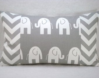 Grey and White Elephant with Grey and White Chevron Lumbar Pillow 12x18 Pillow Cover