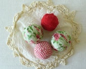 Cabbage Roses and Red White Gingham Print Fabric Balls by WeeWoollyBurros