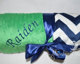Monogrammed Chevron Baby Blanket - Minky Navy Blue and Kelly Green Personalized Boy