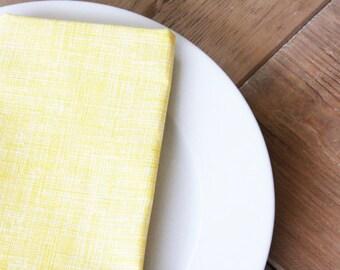 Cloth Napkins - Yellow Newsprint - Spring Finds