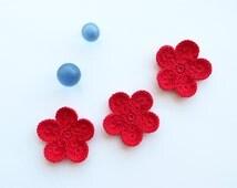 Crochet Flower Appliques, GIANT Flower, Red Hot Large Crochet Flower Motif, PALM SIZED Bloom, Set of 3,