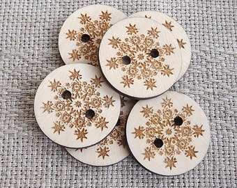 Wood Buttons, Flower Buttons, Snowflake Buttons, Engraved Button,Knitting Button,Craft Button,Winter, Frozen,Woodworking,Woodcraft,Wood work