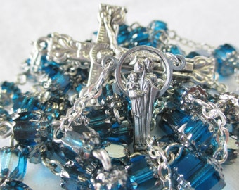Handmade Catholic Rosary, Preciosa Czech Glass Turquoise Aqua Blue Cathedral Beads, Holy Family Center
