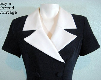Vintage 40's Style Navy Dress by Joseph Ribikoff Creations