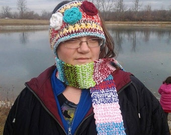 Headwrap and Scarf set; Multi Colored