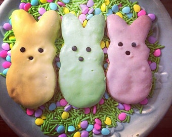 Marshmallow Bunny Shaped Dog Treats - Peeps Bunnies - 2 treats - Peanut Butter Carrot Cake Easter Dog Treats
