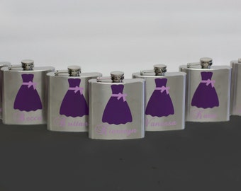 Bridesmaids gift flasks, 6 ounce stainless steel flask. Bridesmaids gift, Maid of honor gift. Purple wedding idea. Dress flasks with title