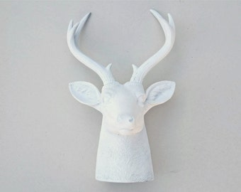 Faux Taxidermy Home Decor - White Faux Buck Table Mount - Unique Resin Deer Table Decor - TD01