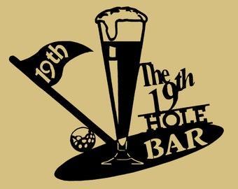 """21 1/2 """" W x 17 1/4"""" H, Golf, 19th Hole, Metal Art, Golfer, Bar, Drinking, Fore"""