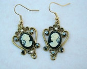 Crystal Studded Victorian Style Cameo Earrings, Black and Cream Cameo, Antiqued Gold Cameo Earrings, Great Gift