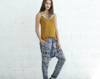Drop Crotch Pants, Tribal Print.
