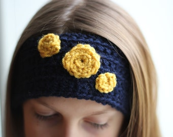 Hand Crafted Blue Headband with Mustard Colored Flowers, Ear Warmers, Kids Fashion, Headbands, Accessories, FREE SHIPPING