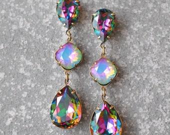 Rainbow Opal Earrings Swarovski Crystal Jewel Tone Rainbow White Opal Large Rhinestone Earrings Fiesta Sparklers Mashugana