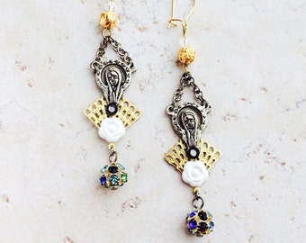 Virgin Mary Assemblage Earrings, Catholic Religious Madonna Jewelry