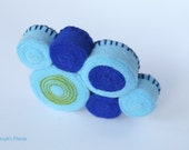 Pale and Navy Blue with a Hint of Green Felt Brooch