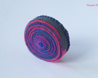 Pink Blue and Grey FELT Brooch OOAK