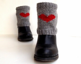 Red Heart Socks Leg warmers Knit Short Boot Socks Heart Boot Cuffs Boot Toppers Winter Accessories Valentines Day Gift For Her senoaccessory