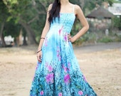 Blue Floral Maxi Dress Chiffon Sundress Women Plus Size Dress Clothing Cute Dress Fancy Hanky Dress Full Length Long Hawaiian Dress Summer
