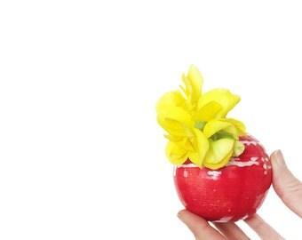 Red Bud Vase. Mini Vase. Ceramic Vase. Red Decor