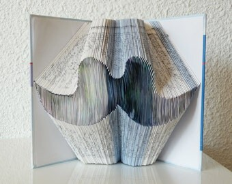"Book Art Sculpture ""Thin moustache"""