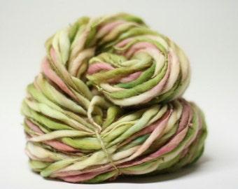 Thick and Thin Merino Handspun Yarn Wool Slub  tts(tm) Hand dyed Unakite 04