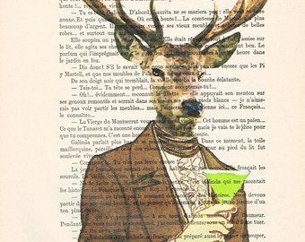 Cocktail Deer: Poster Digital Art Original Illustration Giclee Print Wall art Wall Hanging Wall Decor Animal Deer Painting