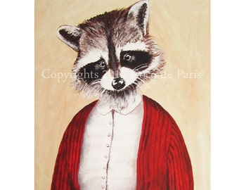 Lady Racoon Painting, Acrylic Painting, Racoon Art, Racoon on canvas, Red, Gift for her, Christmas present, Wall Art, Wall hanging, Folk art