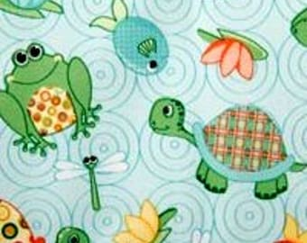 PUL - Babyville -Turtle - Frogs - Fish - Pond Fun - Diaper Cut  21 x 24