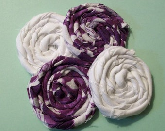 Rolled Fabric Rosette Purple and White Mix with Solid White Flowers Headband Embellishment Hair Clip Fabric Flowers