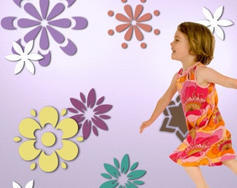 Flower Wall Stencil Kit for Girls Room or Baby Nursery (stl1016)