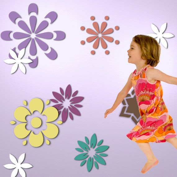 Flower Wall Stencil Kit for Girls Room or Baby Nursery (stl1016)