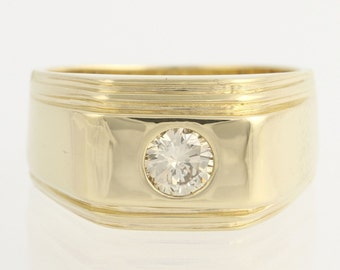 Men's Diamond Solitaire Ring - 14k Yellow Gold Round Natural Polished .40ctw L295