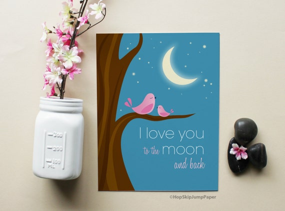 Girl Nursery Art, I Love You to the Moon and Back with Pink Birds Art Print, Kids Wall Room Decor