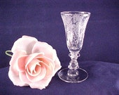 RESERVED, 3 Stems Plus 1 with damage to foot.  Vintage Cambridge Rose Point 1 Ounce Brandy Glass