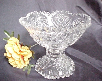 Vintage Imperial Glass Open Jam or Jelly Footed Serving Bowl, 1960s Reissue of Old Pattern Glassware, Clear Collectible Glass Candy Dish