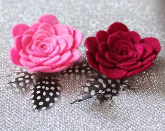 Set of 2 Pink Hair Clips - Pink Flower Hair Clip for Girls - Pink Snap Clip - Feather Hair Clip