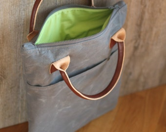 Waxed canvas bag, waxed cotton bag, computer bag, computer case, waxed leather bag, leather handles, made in Italy, laptop bag, handmade bag