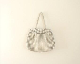 Vintage mid century white metal mesh purse / Whiting and Davis Co. handbag