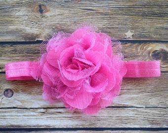 Pink headband, infant headband, baby headband, elastic headband, newborn headband, baby girl, headband infant, headband newborn, hair clip