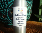Body Spray - Organic Rose Damask Hydrosol - Radiant Rose - 100% Floral Skin Beautiful - Organic Hydrosol - Rose, Rosa damascena, 80 ml.