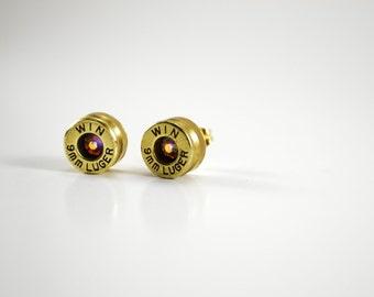 Bullet Earrings ~ 9mm Bullet Casings ~ Post/Stud Earrings ~ AB Swarovski Gems