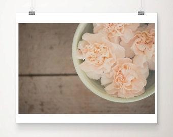 peach carnation photograph flower photograph still life photography mint green decor rustic decor floral print carnation print
