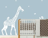 decal wall - white Giraffe silhouette - Childrens Wall Decal - wall vinyl stickers