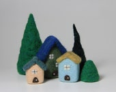 Needle Felted 3 House Village with Trees Felt Cottages Home Decor