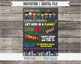 ON SALE! Superhero Birthday Invitation -- Printable Digital File