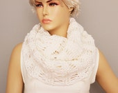Knitted infinity scarf .cowl loop scarf , white