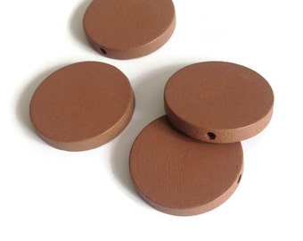 10pcs Brown Round Wooden Bead, Brown Wood Discs, 30mm W 70 036