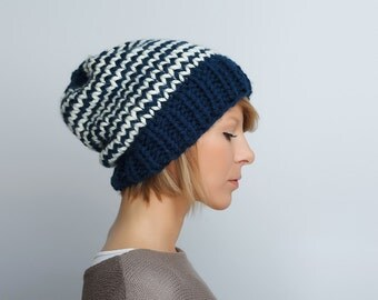 Knit hat Chevron beanie Slouchy Winter Beanie Navy Blue Offwhite striped womens hat Slouch beanie