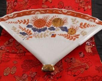 Vintage Antique Japanese Porcelain Fan Plate Flower Painted Art
